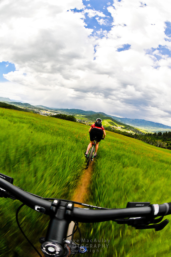 Mountain biking on the singletrack trails of Howelsen Hill, Steamboat Springs, Colorado