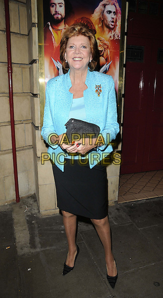 "CILLA BLACK  .The ""Rock Of Ages The Musical"" gala night, Shaftesbury theatre, Shaftesbury Avenue, London, England..28th September 2011.full length black skirt blue turquoise jacket blazer clutch bag.CAP/CAN.©Can Nguyen/Capital Pictures."