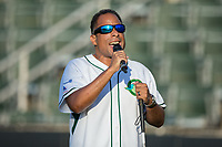 Robert Smith sings the National Anthem prior to the South Atlantic League game between the Hagerstown Suns and the Kannapolis Intimidators at Kannapolis Intimidators Stadium on June 15, 2017 in Kannapolis, North Carolina.  The Intimidators defeated the Suns 9-1 in game two of a double-header.  (Brian Westerholt/Four Seam Images)