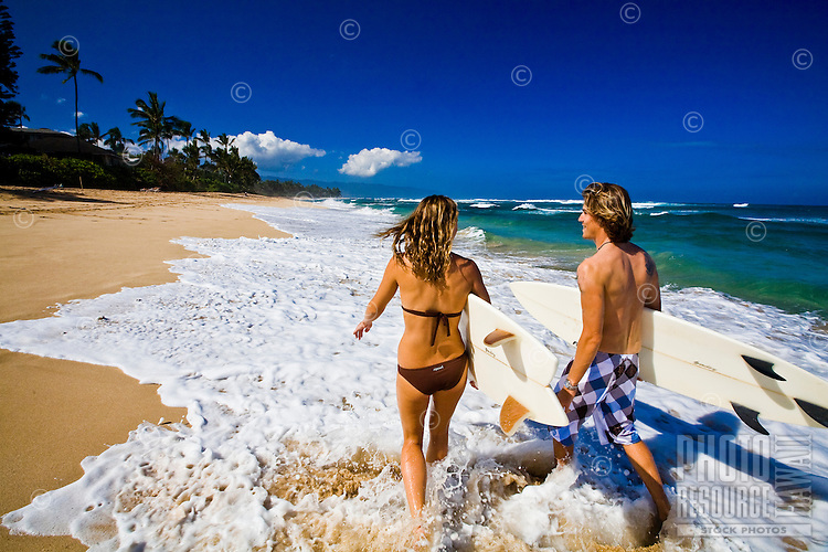 A gorgeous day at Laniakea Beach on the North Shore of Oahu, Hawaii