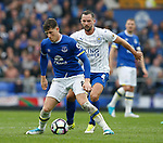 Ross Barkley of Everton in action with Daniel Drinkwater of Leicester City during the English Premier League match at Goodison Park Stadium, Liverpool. Picture date: April 9th 2017. Pic credit should read: Simon Bellis/Sportimage
