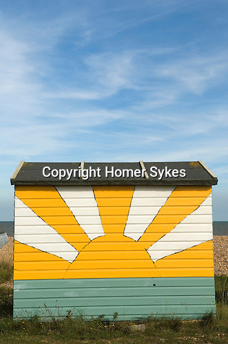 Beach Huts. Littleton on Sea, Kent. English Sunrise motif UK