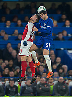 Alvaro Morata of Chelsea battles Granit Xhaka of Arsenal during the Carabao Cup semi final 1st leg match between Chelsea and Arsenal at Stamford Bridge, London, England on 10 January 2018. Photo by Andy Rowland.