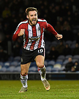 Josh Hancock of Altrincham scores from the penalty spot to make the score 1-1 and celebrates  during Portsmouth vs Altrincham, Emirates FA Cup Football at Fratton Park on 30th November 2019