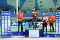 SPEED SKATING: STAVANGER: Sørmarka Arena, 31-01-2016, ISU World Cup, Podium 500 Men Division B, Kornelis Bijlsma (physio Kjeld Nuis), Tingyu Gao (CHN), Artur Nogal (POL), Jesper Hospes (NED), ©photo Martin de Jong
