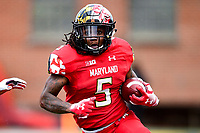 College Park, MD - OCT 27, 2018: Maryland Terrapins running back Anthony McFarland (5) turns the corner for a big gain during game between Maryland and Illinois at Capital One Field at Maryland Stadium in College Park, MD. The Terrapins defeated Illinois to move to 5-3 on the season. (Photo by Phil Peters/Media Images International)