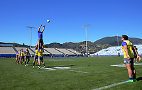 Lineout practice during the Rugby Championship Argentina Pumas captain's run at Trafalgar Park in Nelson, New Zealand on Friday, 7 September 2018. Photo: Dave Lintott / lintottphoto.co.nz