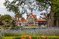 Entrance to Rotorua Museum and Government Gardens, Rotorua, New Zealand - stock photo, canvas, fine art print