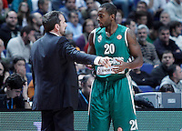 Zalgiris Kaunas' coach Joan Plaza (l) and Oliver Lafayette during Euroleague 2012/2013 match.January 11,2013. (ALTERPHOTOS/Acero) /NortePhoto