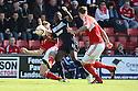 Lucas Akins of Stevenage is stopped by Darren Ward (l) and Aden Flint of Swindon. Swindon Town v Stevenage - npower League 1 -  County Ground, Swindon - 20th April, 2013. © Kevin Coleman 2013..