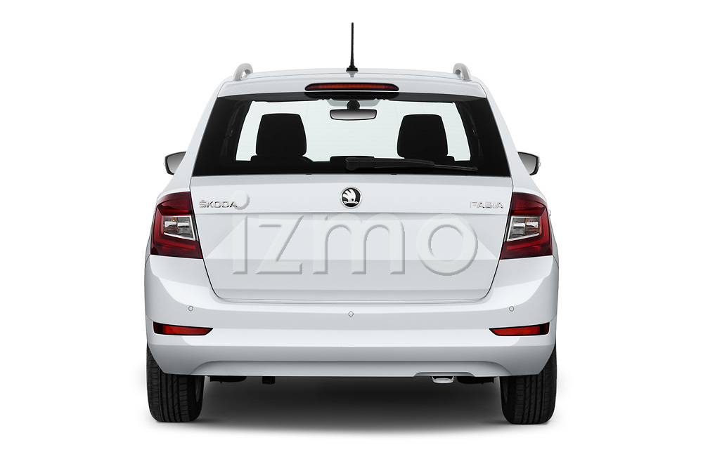 Straight rear view of 2019 Skoda Fabia-Combi Ambition 5 Door Wagon Rear View  stock images