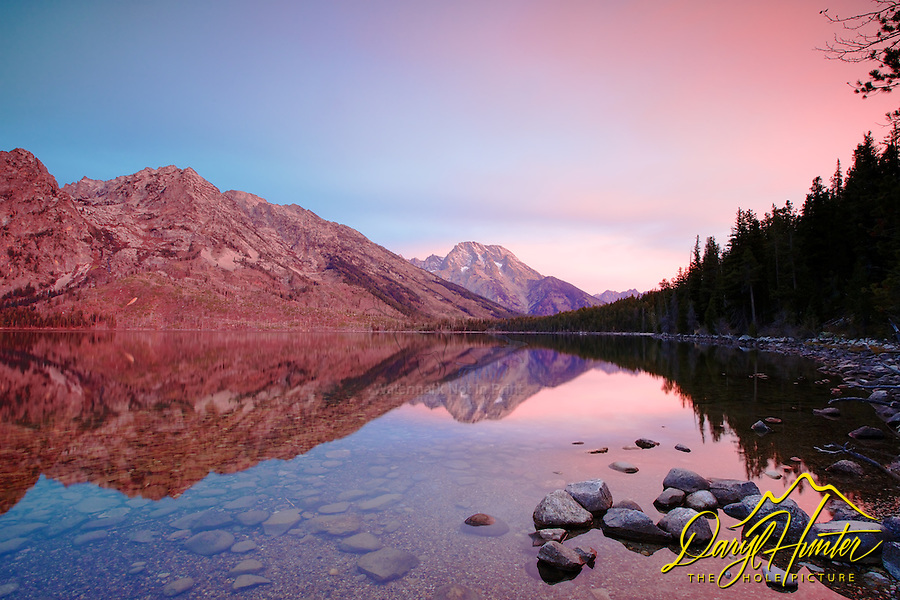 Jenny Lake Sunrise, Mount Moran reflection, Grand Teton National Park