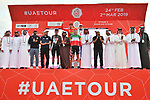 Stage winner and jersey leaders on the podium at the end of Stage 5 of the 2019 UAE Tour, running 181km form Sharjah to Khor Fakkan, Dubai, United Arab Emirates. 28th February 2019.<br /> Picture: LaPresse/Massimo Paolone | Cyclefile<br /> <br /> <br /> All photos usage must carry mandatory copyright credit (&copy; Cyclefile | LaPresse/Massimo Paolone)