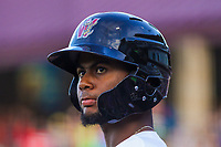 Wisconsin Timber Rattlers outfielder Carlos Belonis (2) during game one of a Midwest League doubleheader against the Kane County Cougars on June 23, 2017 at Fox Cities Stadium in Appleton, Wisconsin.  Kane County defeated Wisconsin 4-3. (Brad Krause/Krause Sports Photography)