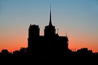 Notre Dame de Paris, 1163 ? 1345, initiated by the bishop Maurice de Sully, Ile de la Cité, Paris, France; view against the sun light. Picture by Manuel Cohen