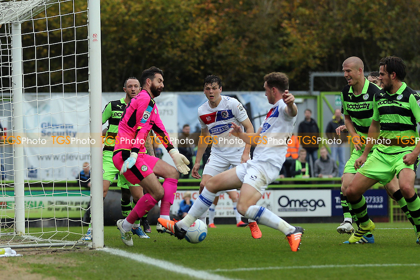 Josh Staunton of Dagenham fails to connect with a cross during Forest Green Rovers vs Dagenham & Redbridge, Vanarama National League Football at The New Lawn on 29th October 2016