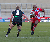 10th February 2019, AJ Bell Stadium, Salford, England; Betfred Super League rugby, Salford Red Devils versus London Broncos; Rob Lui of Salford Red Devils runs with the ball