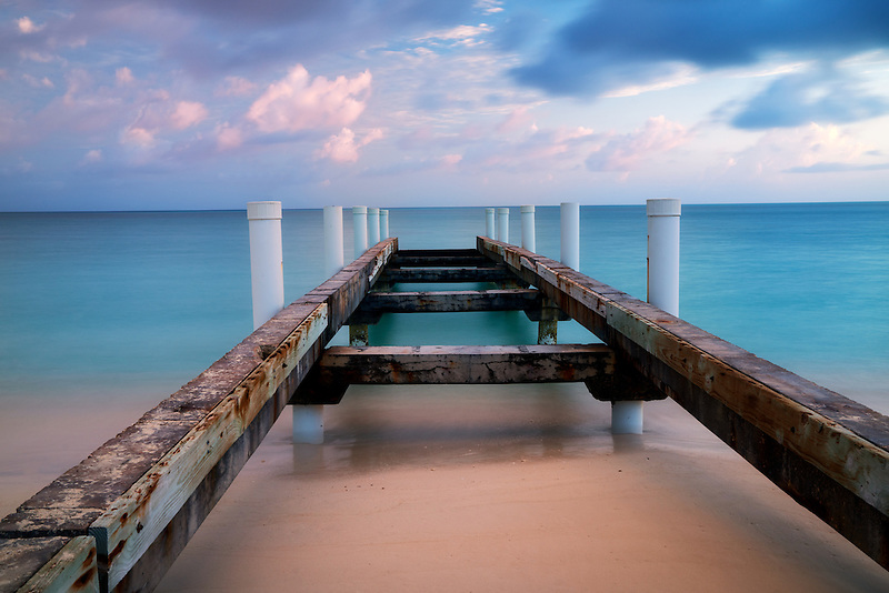 Pier and sunrise. Turks and Caicos. Providenciales