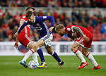 David Brooks of Sheffield Utd goes past two Middlesbrough players during the Championship match at the Riverside Stadium, Middlesbrough. Picture date: August 12th 2017. Picture credit should read: Simon Bellis/Sportimage