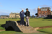 Edorta Rahm (AM) and his son Jon Rahm (ESP) on the Swilken Bridge at the 18th during Round 3 of the Alfred Dunhill Links Championship 2019 at St. Andrews Golf CLub, Fife, Scotland. 28/09/2019.<br /> Picture Thos Caffrey / Golffile.ie<br /> <br /> All photo usage must carry mandatory copyright credit (© Golffile | Thos Caffrey)