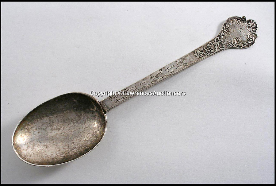 BNPS.co.uk (01202 558833)<br /> Pic: LawrencesAuctioneers/BNPS<br /> <br /> A 330-year-old spoon that its owners thought was worthless has sold for a whopping £14,000.<br /> <br /> The silverware would have been bought as an extravagant souvenir by a wealthy tourist on the frozen Thames in 1684 when London was subject to such bad weather the whole river turned to ice.<br /> <br /> But the antique trinket was discovered at a home in Dunster, Somerset, where the owner kept it in a small, dusty cabinet among ornaments.<br /> <br /> It was discovered after the woman died when her two daughters asked a valuer from Lawrences Auctioneers in Crewkerne to assess the various items in the house.