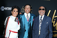"""LOS ANGELES - AUG 8:  Frances Glandney, Smokey Robinson, Berry Gordy at the """"Hitsville: The Making Of Motown"""" Premiere at the Harmony Gold Theater on August 8, 2019 in Los Angeles, CA"""