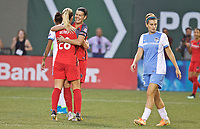 Portland, OR - Saturday August 19, 2017: Christine Sinclair, Amandine Henry celebrate a goal during a regular season National Women's Soccer League (NWSL) match between the Portland Thorns FC and the Houston Dash at Providence Park.