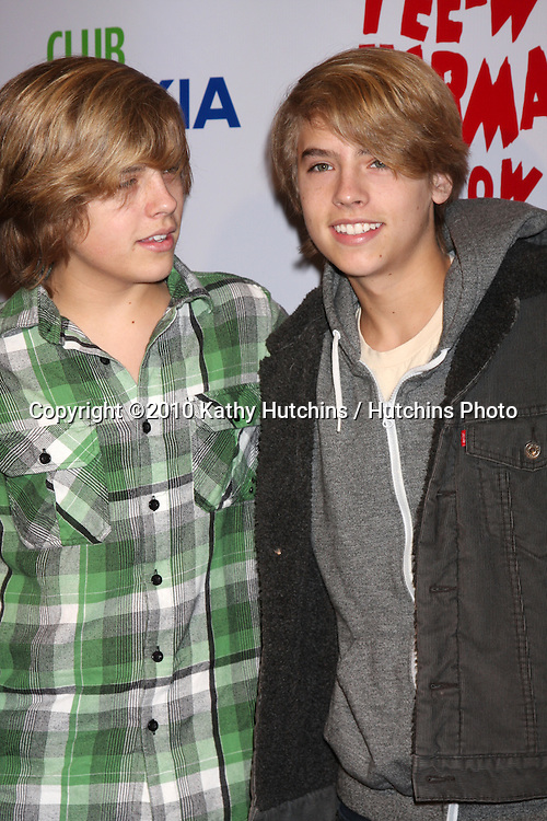 "Dylan & Cole Sprouse.arriving at the ""The Pee Wee Herman Show"" Opening Night..Club Nokia.Los Angeles, CA.January 20, 2010.©2010 Kathy Hutchins / Hutchins Photo...."