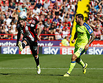 Kieron Freeman of Sheffield Utd and Bradley Johnson of Derby County during the Championship match at Bramall Lane, Sheffield. Picture date 26th August 2017. Picture credit should read: Simon Bellis/Sportimage