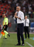 Calcio, Serie A: Lazio vs Bologna. Roma, stadio Olimpico, 22 agosto 2015.<br /> Lazio coach Stefano Pioli reacts during the Italian Serie A football match between Lazio and Bologna at Rome's Olympic stadium, 22 August 2015.<br /> UPDATE IMAGES PRESS/Isabella Bonotto