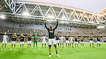 Stockholm 2015-07-16 Fotboll Kval Uefa Europa League  AIK - FC Shirak :  <br /> AIK:s Henok Goitom jublar framf&ouml;r AIK:s supportrar efter matchen mellan AIK och FC Shirak <br /> (Foto: Kenta J&ouml;nsson) Nyckelord:  AIK Gnaget Tele2 Arena UEFA Europa League Kval Kvalmatch FC Shirak Armenien Armenia jubel gl&auml;dje lycka glad happy