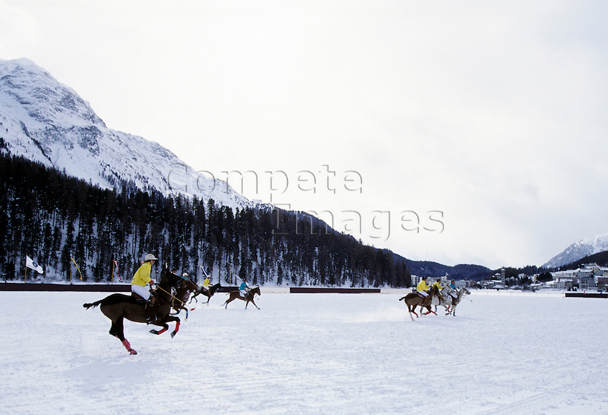 Ice Horse Polo in mountain setting