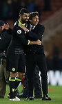 Winning goalscorer Diego Costa of Chelsea celebrates with Antonio Conte manager of Chelsea during the English Premier League match at the Riverside Stadium, Middlesbrough. Picture date: November 20th, 2016. Pic Simon Bellis/Sportimage