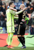 Roma&rsquo;s goalkeeper Wojciech Szczesny, left, greets Napoli&rsquo;s goalkeeper Pepe Reina at the end of the Italian Serie A football match between Roma and Napoli at Rome's Olympic stadium, 4 March 2017. Napoli won 2-1.<br /> UPDATE IMAGES PRESS/Isabella Bonotto