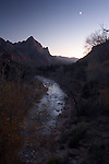 Crescent Moon over the Watchman, Virgin River,