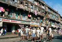 Men working on road repairs, Bombay, India