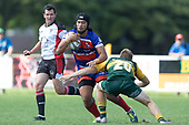 Latiume Fosita looks to break past Dylan Fearon. Counties Manukau Premier Counties Power Game of the Week Club Rugby Round 4 game between Pukekohe and Ardmore Marist, played at Colin Lawrie Fields Pukekohe on Friday March 30th 2018.<br /> Ardmore Marist won the game 27 - 21 after leading 13 - 11 at halftime.<br /> Pukekohe Mitre 10 Mega 21 -Trent White, Samu Pailegutu tries, Sione Fifita conversion, Sione Fifita 2, Vilitati Sabani penalties. Ardmore Marist South Auckland Motors 27 - Katetistoti Nginingini, Karl Ropati, Alefosio Tapili tries, Latiume Fosita 3 conversions, Latiume Fosita 2 penalties. <br /> Photo by Richard Spranger.