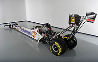 Jan. 8, 2012; Brownsburg, IN, USA; The car of NHRA top fuel dragster driver Antron Brown during a photo shoot at the Don Schumacher Racing shop. Mandatory Credit: Mark J. Rebilas-