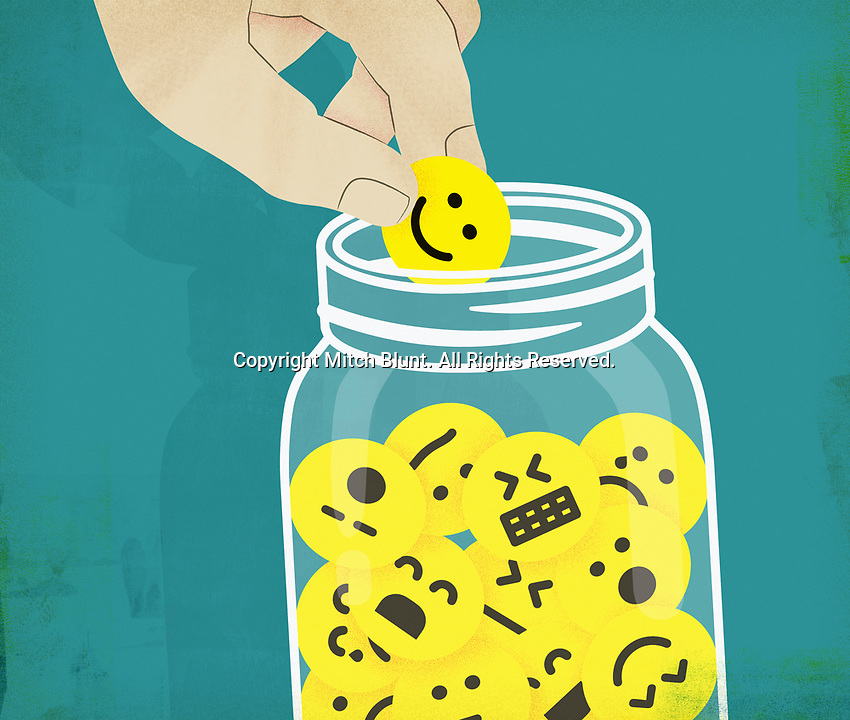 Hand choosing smiley face from jar of emoticons