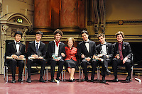 PICTURE BY VAUGHN RIDLEY/SWPIX.COM - Leeds International Piano Competition 2012 - Leeds Town Hall, Leeds, England - 15/09/12 - Dame Fanny Waterman pictured with the winner Federico Colli of Italy and the other finalists