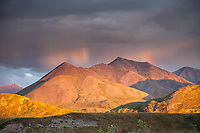 Midnight sun on the hills surrounding the Canning River, Arctic National Wildlife Refuge, Brooks Range mountains, Alaska.