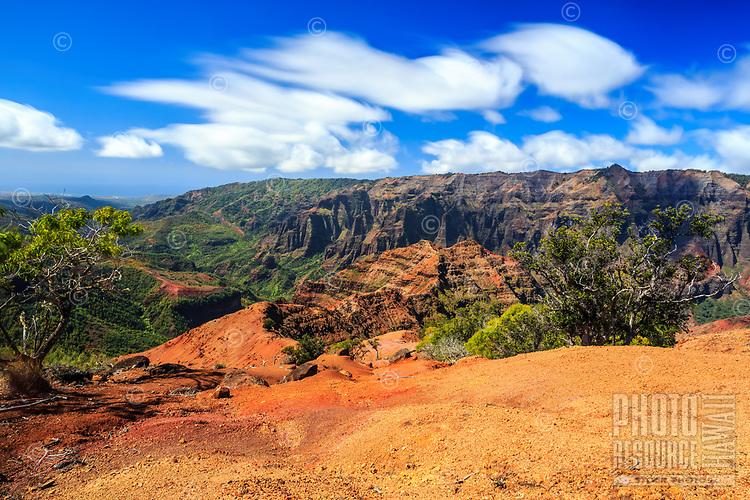 A seldom seen view of the vista from the end of the Kohua Ridge Trail during a hike in Waimea Canyon, Kaua'i.