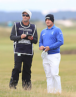 Merrick Bremner (RSA) and his caddie on the 16th fairway during Round 4 of the 2015 Alfred Dunhill Links Championship at the Old Course in St. Andrews in Scotland on 4/10/15.<br /> Picture: Thos Caffrey | Golffile