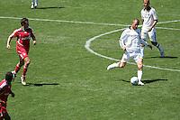 Toronto FC midfielder (32) Laurent Robert  and LA Galaxy midfielder (23) David Beckham during a MLS match. Toronto defeated the LA Galaxy 3-2 at the Home Depot Center Carson, California, Sunday April 13, 2008.