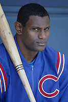Sammy Sosa of the Chicago Cubs before a 2002 MLB season game against the San Diego Padres at Qualcomm Stadium, in San Diego, California. (Larry Goren/Four Seam Images)