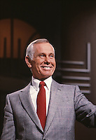 Johnny Carson on set of Tonight Show, NBC Studios, Burbank, CA, 1982. Photo by John G. Zimmerman.
