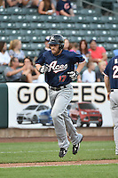 Nick Evans (17) of the Reno Aces rounds the bases after hitting a home run against the Salt Lake Bees at Smith's Ballpark on May 4, 2014 in Salt Lake City, Utah.  (Stephen Smith/Four Seam Images)