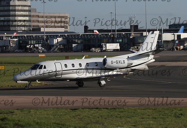 A London Executive Aviation Cessna 560XL Citation Excel Registration G-GXLS taxying at Manchester Airport on 14.2.16.