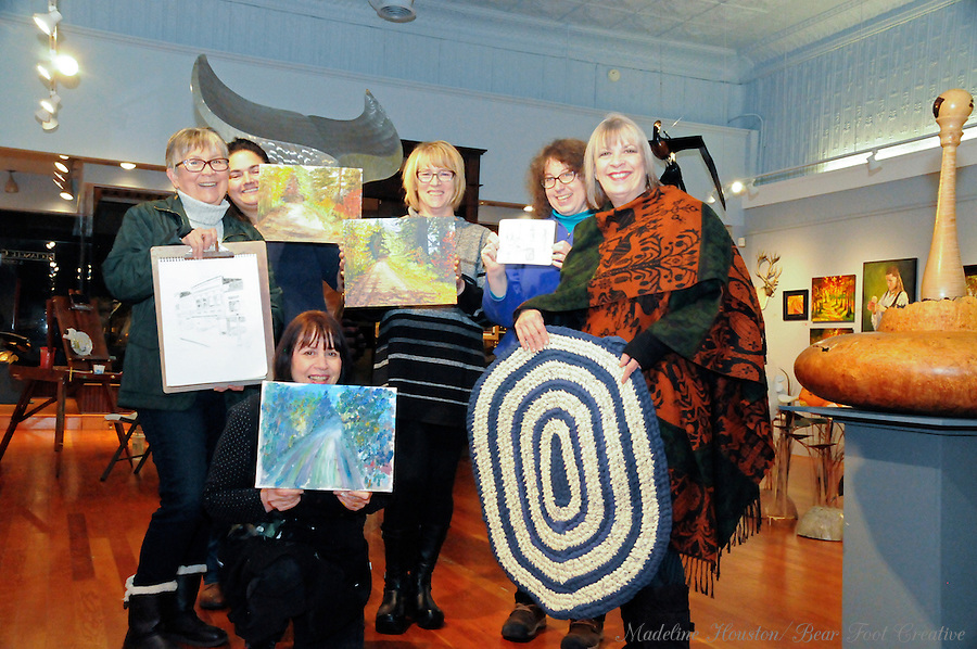 At the Rectangle Gallery, artists Jeanne Hamilton, Tonie Knutz, Joan Hitchcock, Sara Light-Waller, Sue Wachter, and Grace Willis show off work created during during Centralia, Washington's Third Thursday on October 20, 2016.