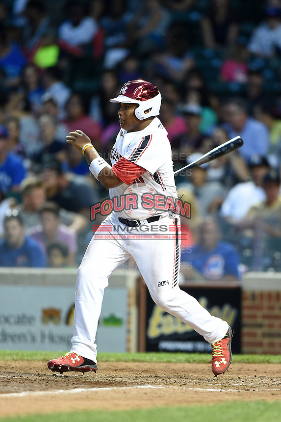 Josh Naylor (10) of St. Joan of Arc High School in Mississauga, Ontario, Canada during the Under Armour All-American Game on August 16, 2014 at Wrigley Field in Chicago, Illinois.  (Mike Janes/Four Seam Images)